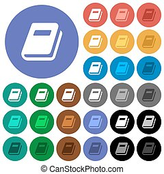 Personal diary round flat multi colored icons
