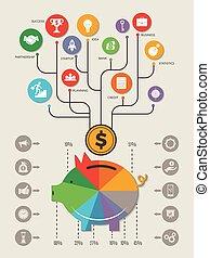 personal, empresa / negocio, vector, plantilla, hogar, inversión, infographic., dinero, excepto, cerdo, efectivo, banco