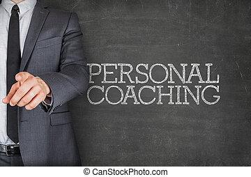 personal, entrenamiento, en, pizarra, con, hombre de negocios