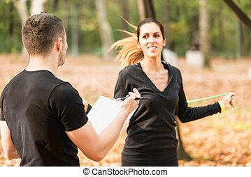 personal, entrenamiento, instructor, condición física