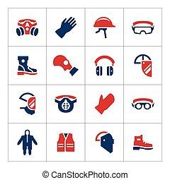 personal, equipo, protector, color, conjunto, iconos