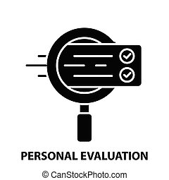 personal evaluation icon, black vector sign with editable strokes, concept illustration