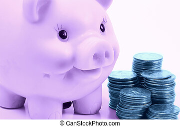 Personal Finance 3 - Piggy Bank and Stacked Quarters in Cyan...