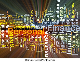 Personal finance background concept glowing