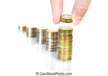 Personal Finance. Hand and Coins. Money and finance series.