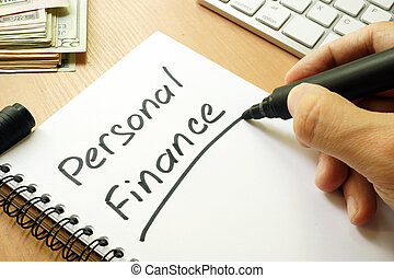 Personal finance handwritten in a note.