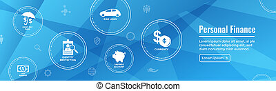 Personal Finance Web Header Banner with Rainy Day fund, cash...