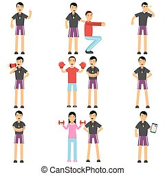 Personal fitness trainer cartoon characters set in different situations. Instructor holding training session with people