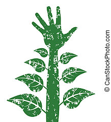 Hand and arm with leaves - growth and development concept.
