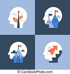 Fast training course, self improvement, personal growth and motivation, positive mindset, potential development, next level mountain, way up to success, vector icon, flat illustration