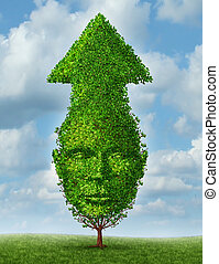 Personal growth and leadership development as a business concept of achievements and success with a tree shaped as a human head and arrow going up to the sky as a symbol of growing and learning.
