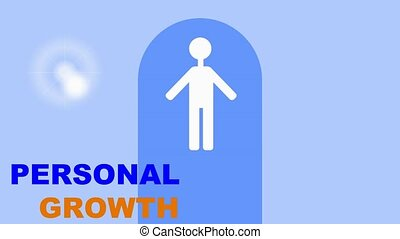 Personal growth training intro, white human figure in gate...