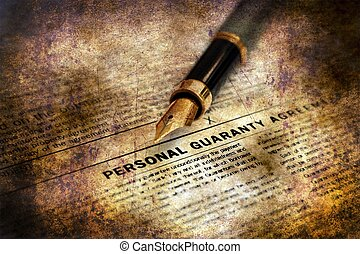 Personal guaranty agreement grunge concept