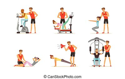 Personal Gym Coach Helping People Characters Training Vector Illustrations Set