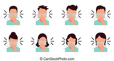 Personal Hygiene - Covering Mouth with tissue while sneezing - Icon as EPS 10 File.