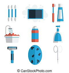 Personal hygiene flat icons