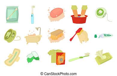 Personal hygiene icon set, cartoon style - Personal hygiene...