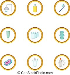 Personal hygiene icons set, cartoon style