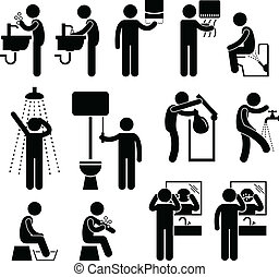 A set of pictograms representing the personal hygiene acts in toilet, such as washing hand, face, backside, leg, and more.
