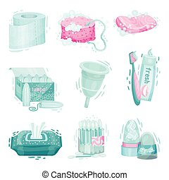 Personal Hygiene Items with Cotton Buds and Toilet Paper Vector Set