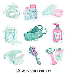 Personal Hygiene Items with Dental Floss and Liquid Soap Vector Set