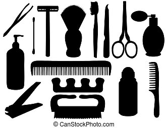 Isolated silhouettes of personal hygiene related objects