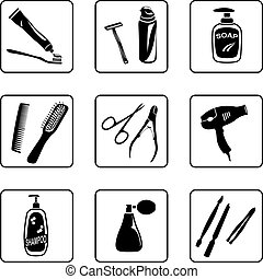 Personal Hygiene - Personal hygiene objects black and white...