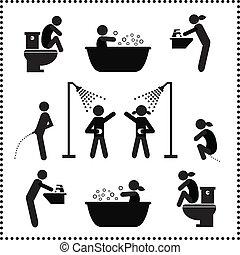 personal hygiene symbol set on white background