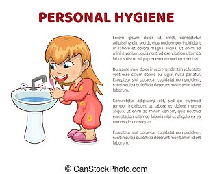 Personal Hygiene Vector Illustration Poster Girl