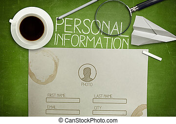 Personal information form concept on green blackboard with coffee cup