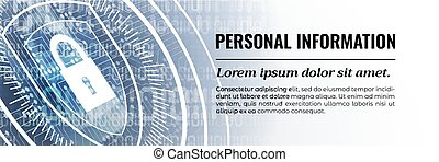 Personal Information Modern Safety Background. Vector. Web Banner Template.