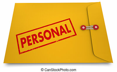 Personal Information Yellow Stamped Envelope 3d Illustration