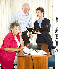 Personal Injury Attorney - Injured senior man and his upset...