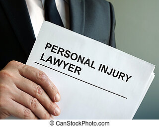 Personal injury lawyer with clipboard and law.
