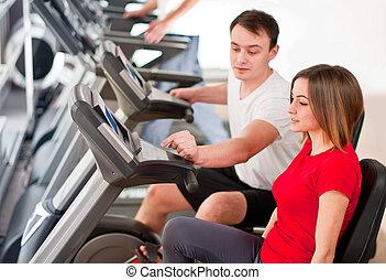 personal, instructor, -, bicicleta, entrenador