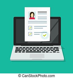 Personal interview online with skills data investigation document vector on computer laptop or internet digital recruitment test application with approval check mark list flat, human resources concept