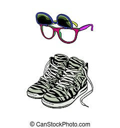 Personal items from 90s - high sneakers, wayfarer sunglasses with removable lenses, sketch vector illustration isolated on white background. Retro fashion - high sneakers, removable lens sunglasses