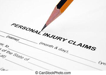 personal, lesión, reclamo