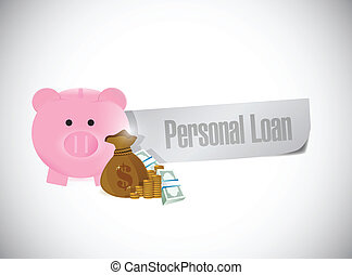 personal loan paper sign illustration design over a white...