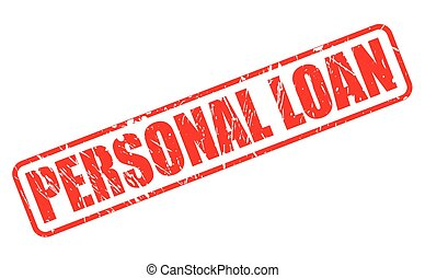 PERSONAL LOAN red stamp text on white