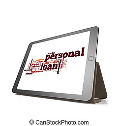 Personal loan word cloud on tablet image with hi-res...
