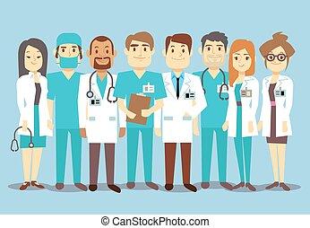 personal, médico, vector, cirujano, doctors, enfermeras, plano, hospital, ilustración, equipo
