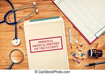 Personal medical history of the patient, healthcare concept