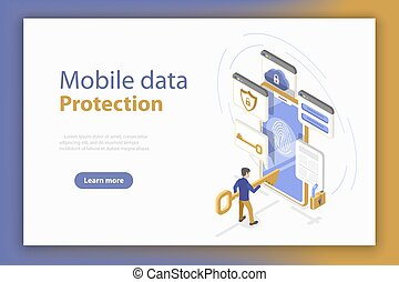 Personal mobile data protection isometric flat vector...