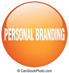 personal, naranja, gel, redondo, botón, empujón, aislado, branding