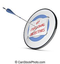 personal, objetivos, o, realizando, metas