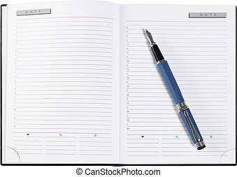 Personal organizer with blank pages, white background