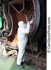 Personal protection equipment, ppe - An engineer wearing ppe...