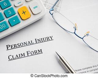 personal, reclamo, desk., lesión, forma
