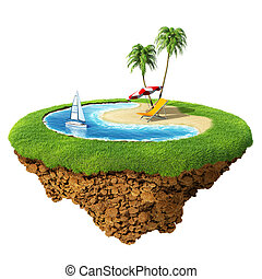 Personal resort on little planet. Concept for travel, holiday, hotel, spa, resort design. Tiny island / planet collection.